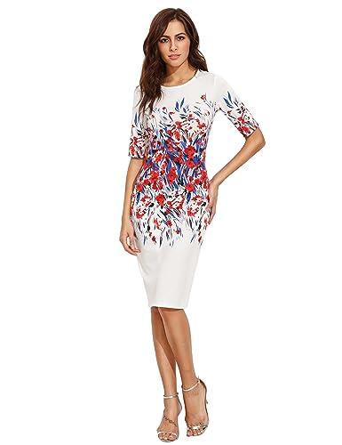 Floerns Women's Floral Short Sleeve Flower Print Bodycon Pencil Dress