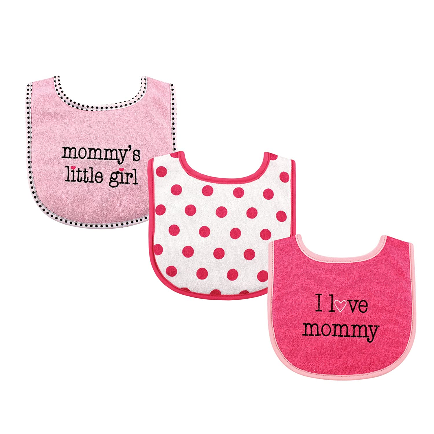 Pink Daddy Luvable Friends I Love Mommy and Daddy Baby Bibs 3-Count