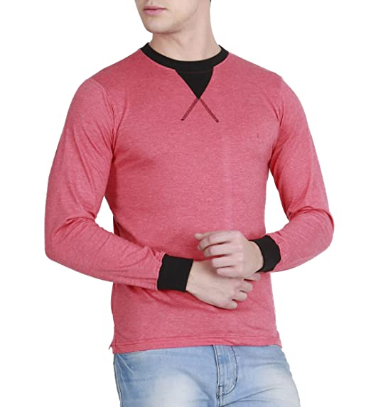 fanideaz Branded Cotton Full Sleeve Classic Unique Neck Orange T Shirt for  Men S 3ef9f12aba