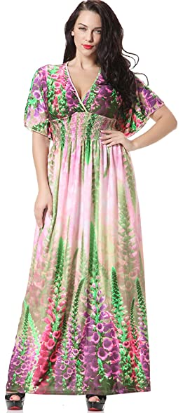 Maxi plus size dresses with sleeves