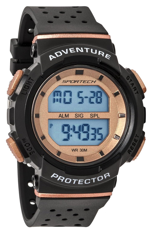 Reloj deportivo deportivo unisex, color negro y oro rosa, resistente al agua, SP12706