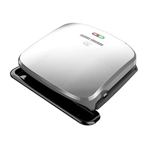George Foreman 4-Serving Removable Plate Grill and Panini Press, Platinum, GRP3060P