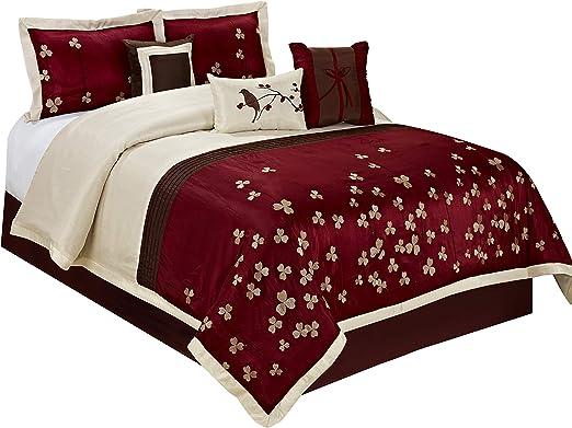 Elegant Red Purple Grey Geometric Design 5 pcs Cal King Queen Comforter Set New