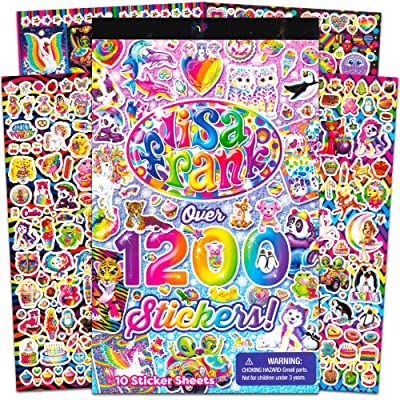 Lisa Frank 1200 Stickers Tablet Book 10 Pages of Collectible Stickers Crafts Scrapbooking: Office Products