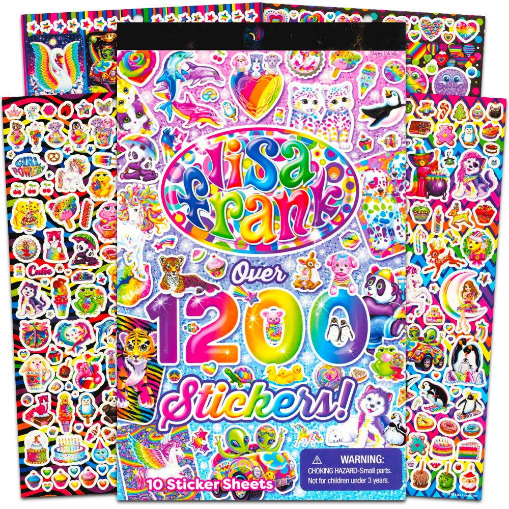 Lisa Frank 1200 Stickers Tablet Book 10 pages of Collectible Stickers Crafts Scrapbooking