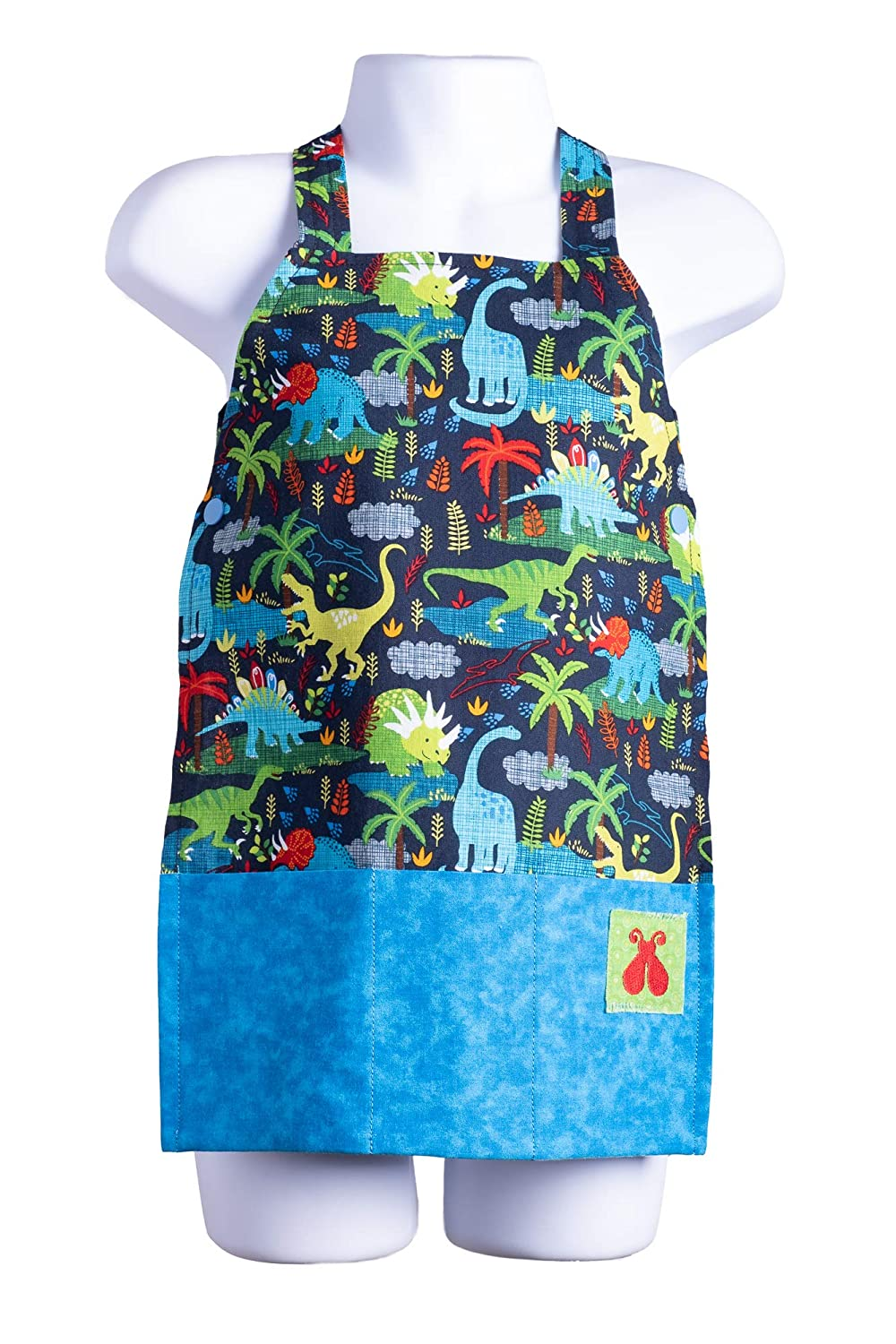 Bailey Bug Toddler Dinosaur STEM Play Apron for Girls and Boys Arts, Crafts, Digging, Experiments and Kitchen Fun (Medium)