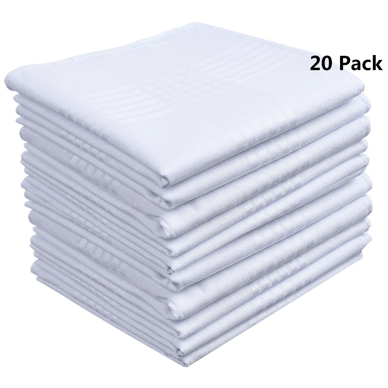 Soft 100 Cotton Men's Handkerchiefs White Pocket Square Hankies