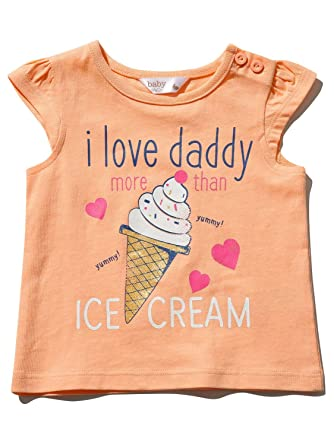 M/&Co Baby Girl I Love Daddy T-Shirt with Short Sleeves and Ice Cream Print