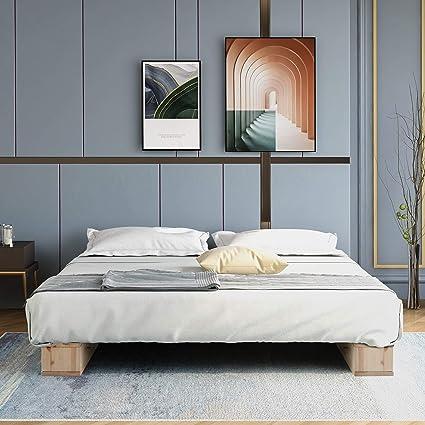 Merax Estructura de cama de madera de alta calidad con soporte de láminas de madera natural (120 x 200 cm)