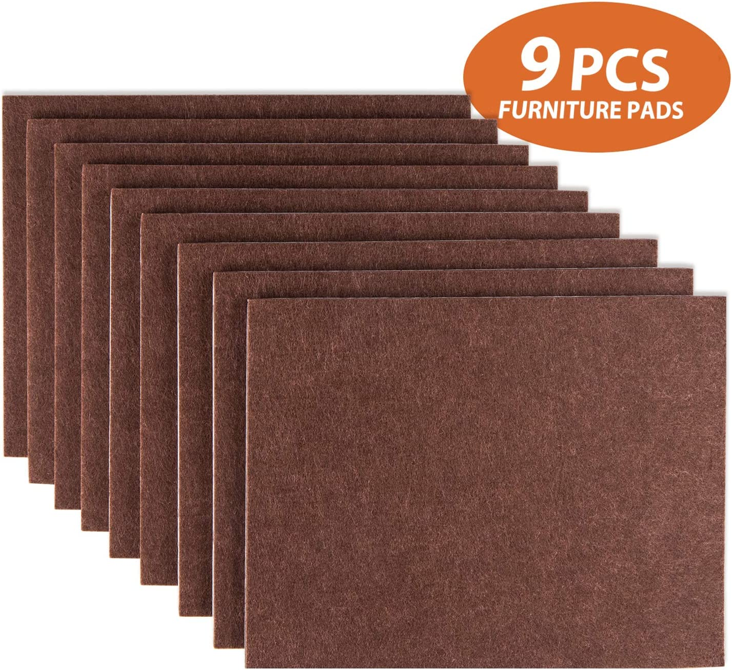 "Furniture Pads Set of 9 Self Adhesive Furniture Felt Pads, 8"" x 6"" x 1/5"" Cuttable Felt Chair Pads, Anti Scratch Furniture Floor Protectors for Furniture Legs Hardwood Floor, Brown"
