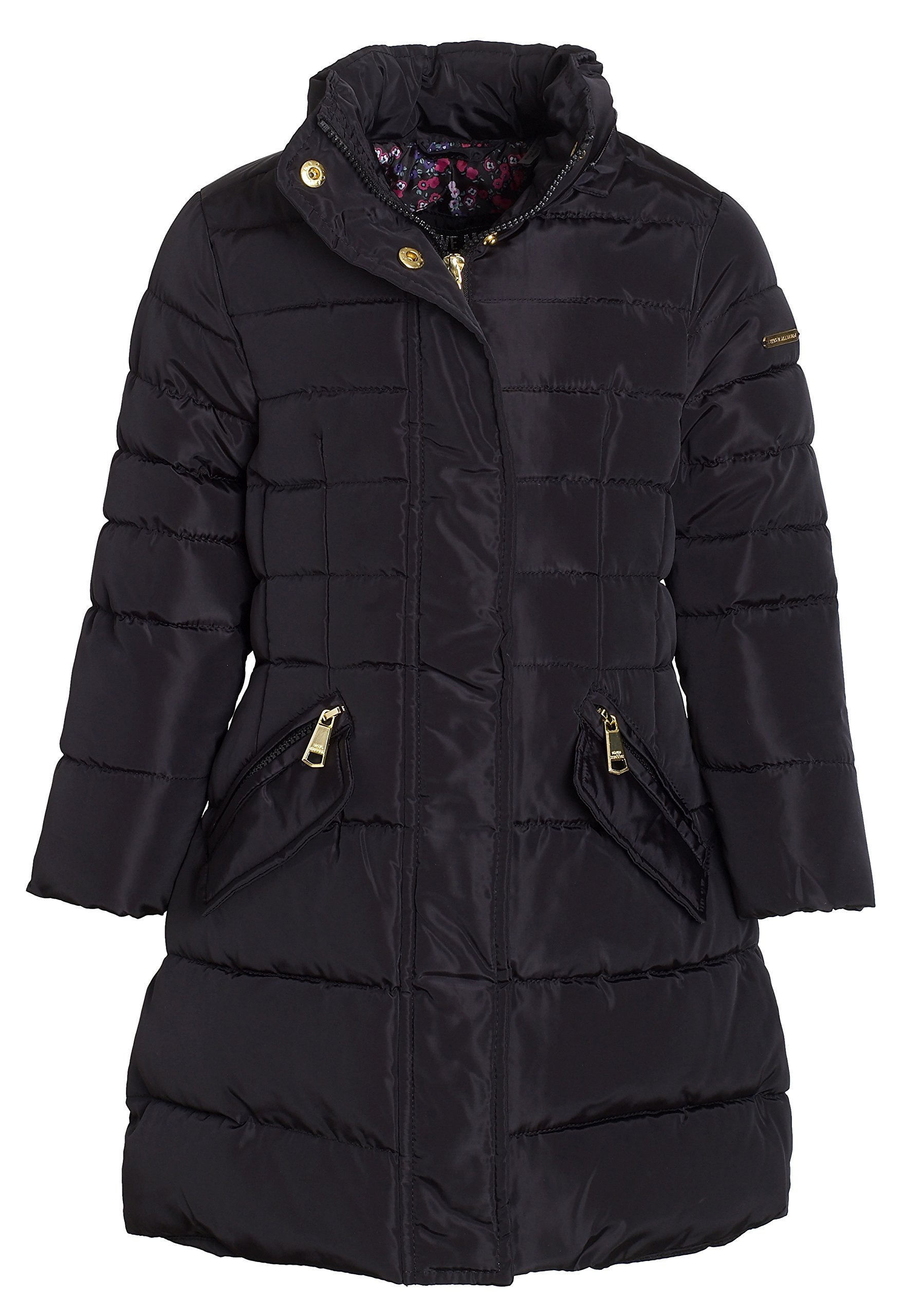 Steve Madden Girls Winter Down Alternative Hooded Long Bubble Puffer Jacket Coat - Black (Size 5/6)