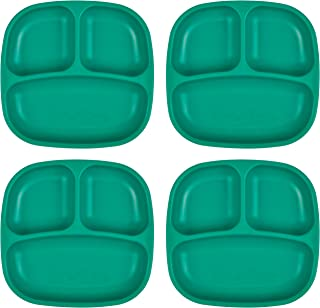 "product image for Re-Play Recycled Products Small Divided Plates, Set of 4 (7.375"" Divided Deep Walled Plates, Teal)"