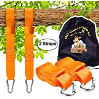 Tree Swing Hanging kit Straps, (Set of 2) Extra Long 10tf Each. Super Strong 5,000lbs + 2 Carabiners. for Swing Sets, Web Swings, Hammock & Tire Swing
