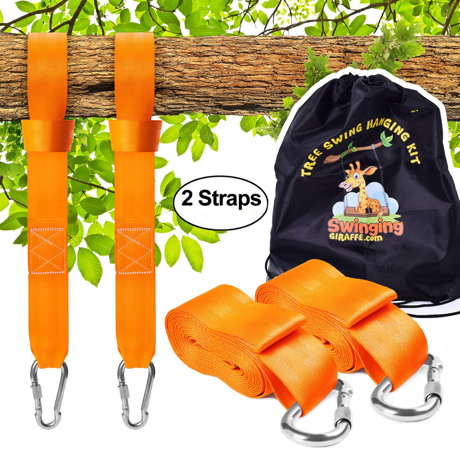 Tree Swing Hanging kit , Extra Long Straps 10TF Each. Super Strong 5,000lb by Swinging Giraffe