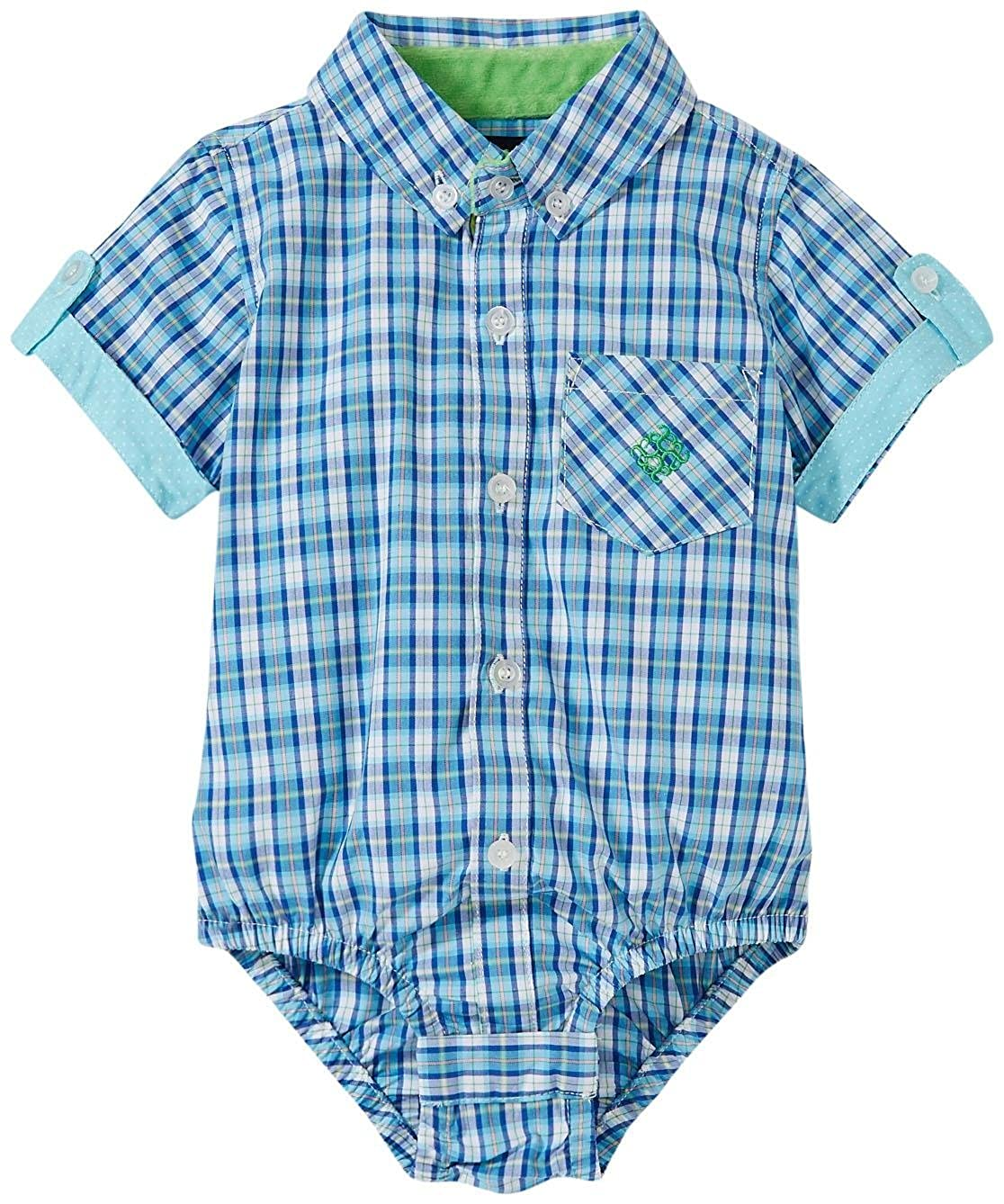 Andy /& Evan Baby Boys Checkmate Short Sleeve Shirtzie Andy /& Evan for little gentlemen 26413A-AQC