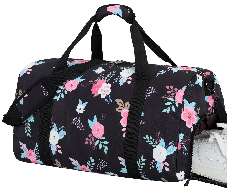 216d1021cd4a BLUBOON Women Overnight Weekender Bag Ladies Duffel Bag Gym Luggage Tote  (Black)