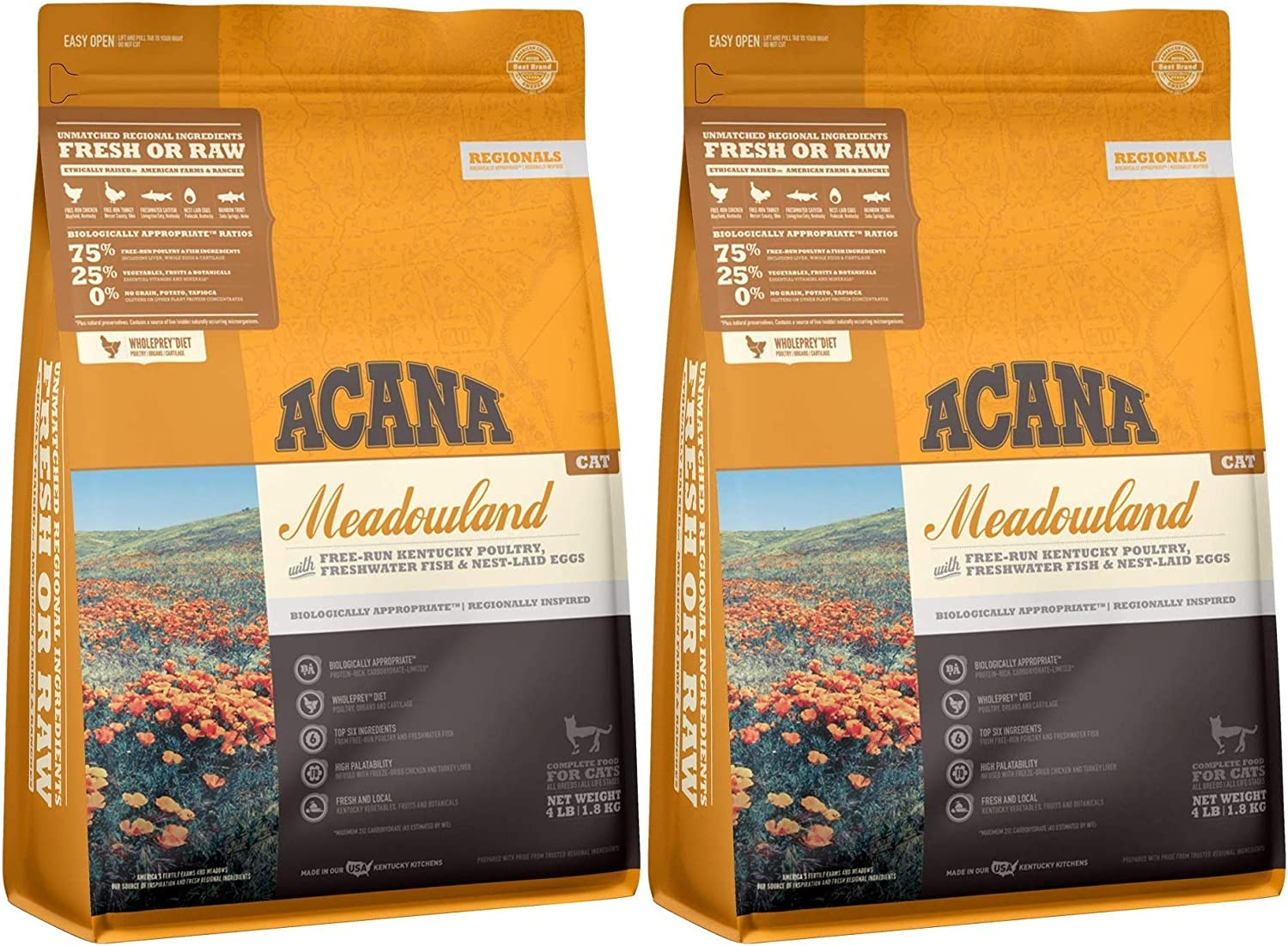 ACANA 2 Pack of Meadowland Dry Cat Food, 4 Pounds Each, Grain-Free, Made in The USA