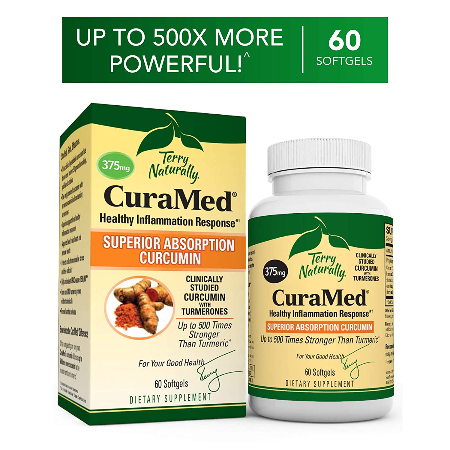 Terry Naturally CuraMed 375 mg - 60 Softgels - Superior Absorption BCM-95  Curcumin Supplement,