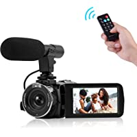"""Camcorder Digital Video Camera, Camcorder with Microphone Wifi IR Night Vision Full HD 1080P 30FPS 3"""" LCD Touch Screen Vlogging Camera With Remote Control"""
