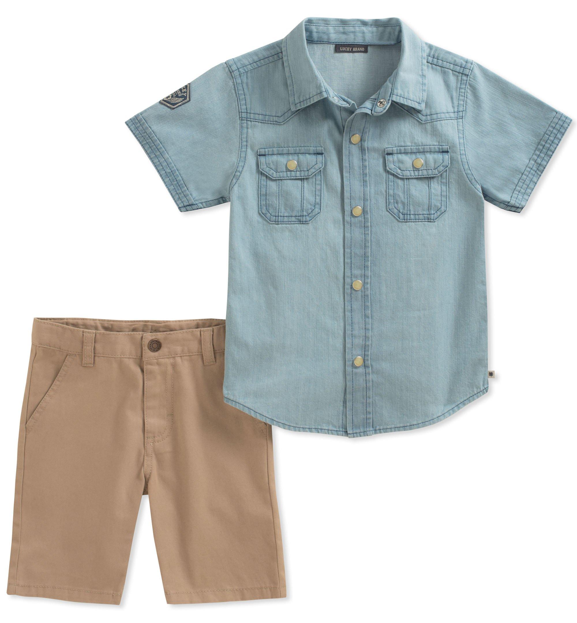 Lucky Brand Boys' Little Shirt Shorts Set, Blue, 5