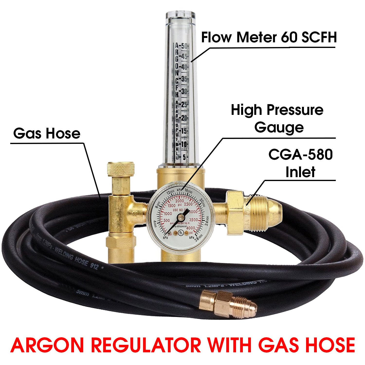 MANATEE Argon Regulator TIG Welder MIG Welding CO2 Flowmeter 10 to 60 CFH - 0 to 4000 psi pressure gauge CGA580 inlet Connection Gas Welder Welding Regulator More Accurate Gas Metering Delivery System by MANATEE