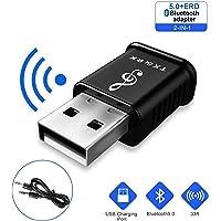 GuDoQi Receptor Bluetooth 5.0 para Auto, Dongle USB BT5.0 Nano Transmisor Receptor 2 In 1 con Adaptador de Audio 3.5mm para Auto Estéreo y Sistema de Sonido Estéreo de Hogar