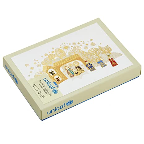 Unicef Christmas Cards.Hallmark Unicef Christmas Boxed Cards Gold Foil Nativity 12 Cards And 13 Envelopes