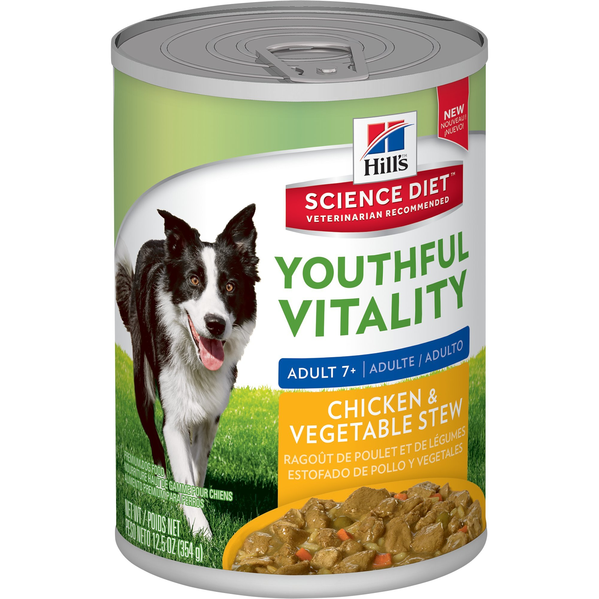 Hill's Science Diet Senior Wet Dog Food, Adult 7+ Youthful Vitality Chicken & Vegetables Stew Canned Dog Food, 12.5 oz, 12 Pack