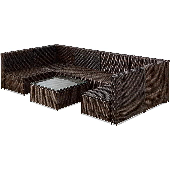 Amazon.com: GLCHQ - Juego de muebles de patio de ratán ...