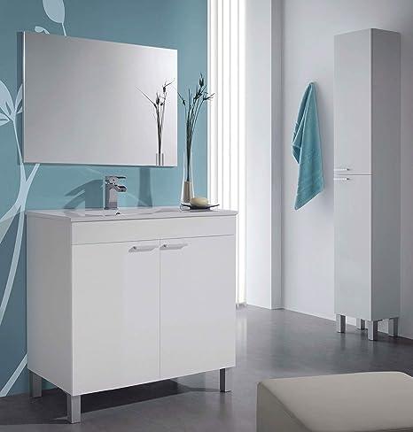 Miroytengo Pack Muebles Mueble baño Espejo Columna Auxiliar y ...