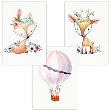 3er Set Wandbilder Baby Kinderzimmer Poster W08 Windfreunde Elefant Maus Katze