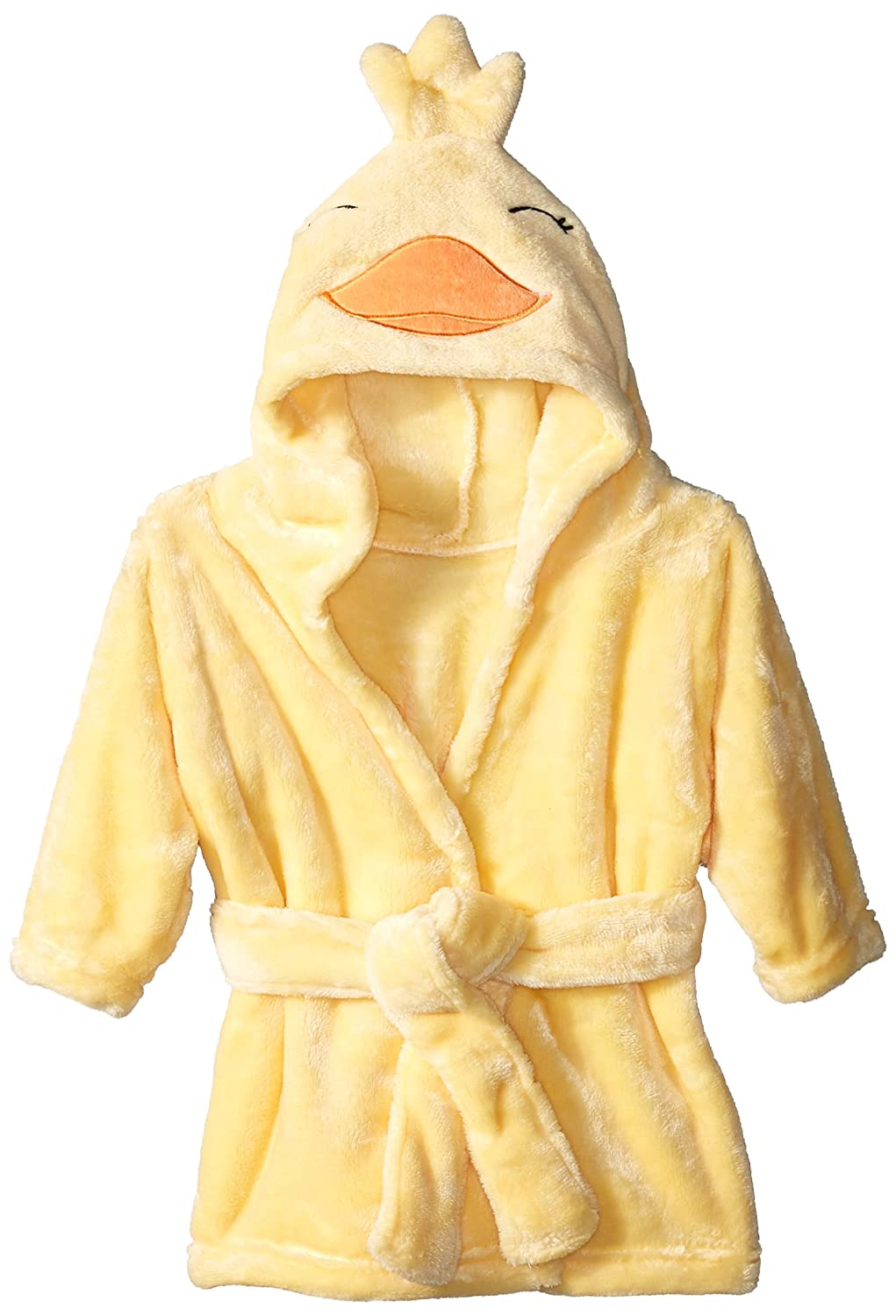 Hudson Baby Unisex Baby Plush Animal Face Robe, Duck, One Size, 0-9 Months