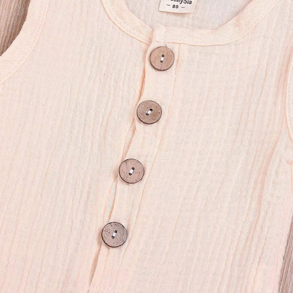 con Bottoni Blu Tutina Estiva per Neonato Aiserkly in Lino Unisex Arancione Colore: Rosa