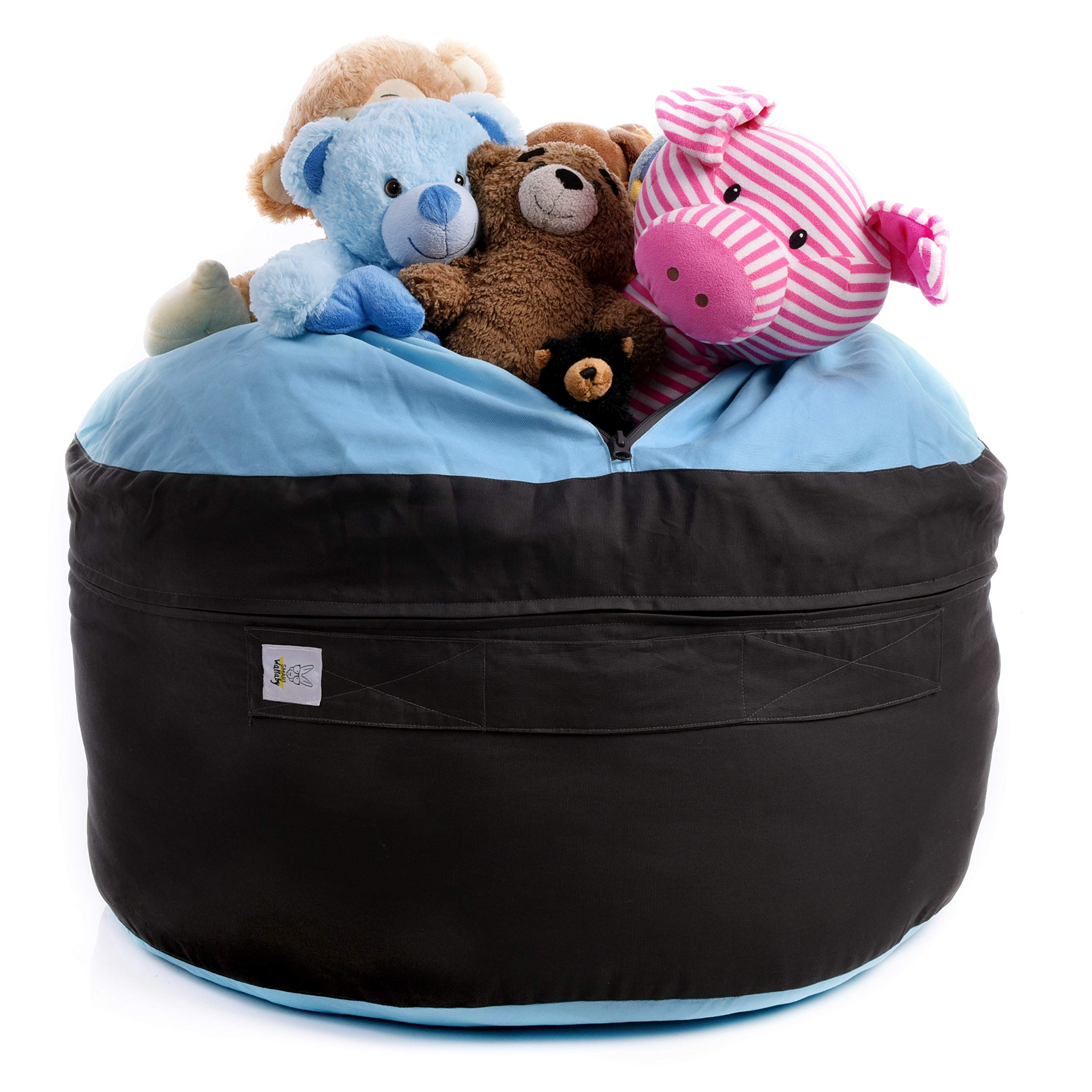 SMART WALLABY Storage Bean Bag Chair for Soft Toys, Stuffed Animals, Clothes, Linens and Blankets. 2 Sizes in-1 Expands to Reach XXL. Large Seating Area. Choose from 4 Stylish Designs