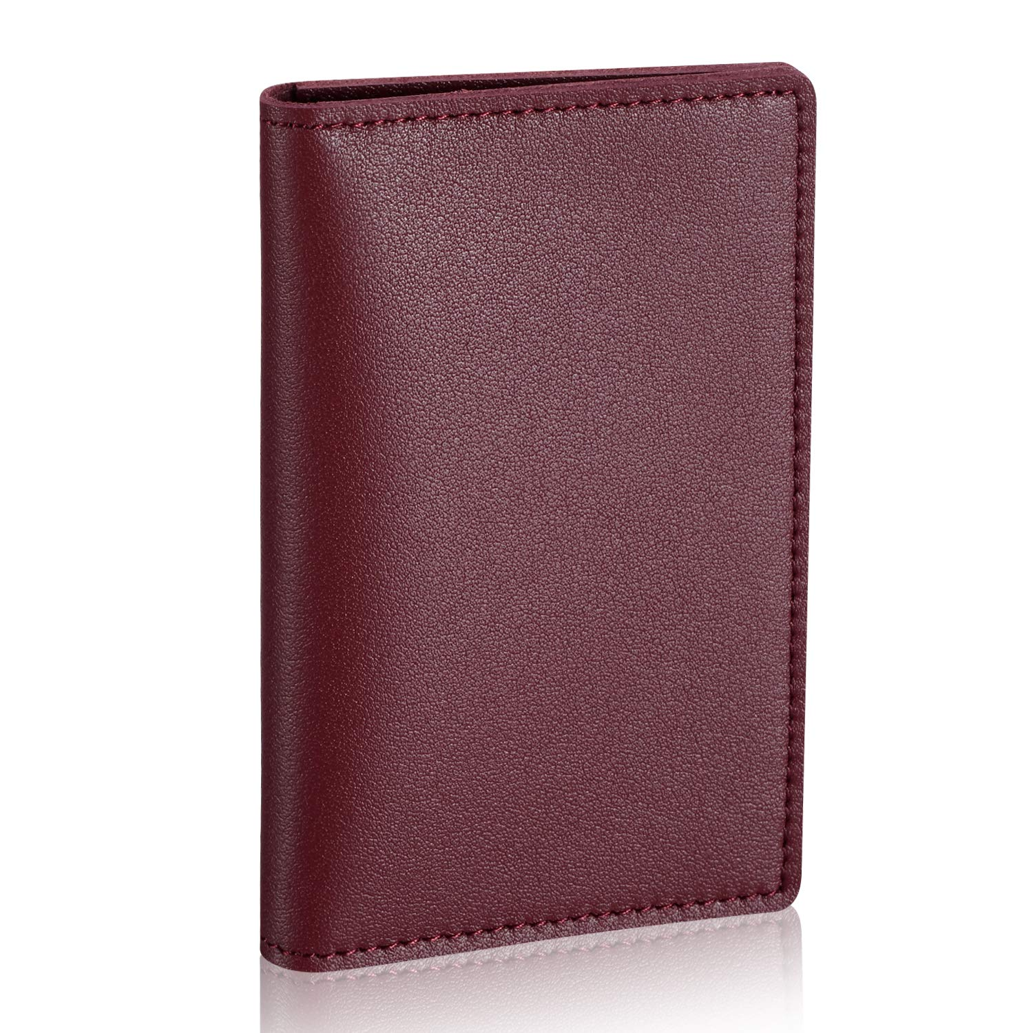 HISCOW Minimalist Thin Bifold Card Holder - Italian Calfskin (Bordeaux) by HISCOW (Image #9)