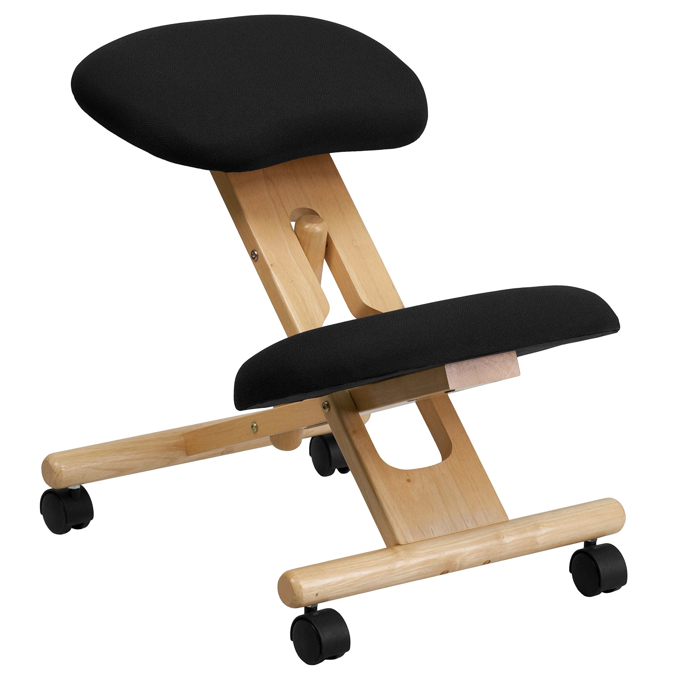 My Friendly Office MFO Mobile Wooden Ergonomic Kneeling Chair in Black Fabric by My Friendly Office
