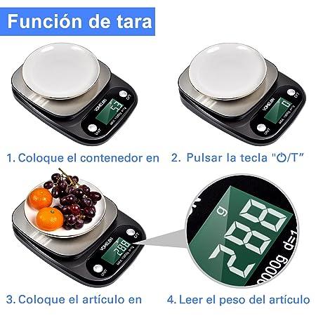 VOMELON Bascula Cocina, Bascula Digital Cocina 10 kg/1g, Acero Inoxidable, función de Tara, Pantalla LCD Grande(Baterias Incluidas)