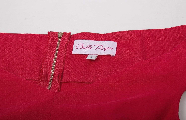 bp387-1 L Belle Poque retr/ò Vintage Donna Abito Matita al Ginocchio Manica Corta e Collo Barca gf158 Rouge