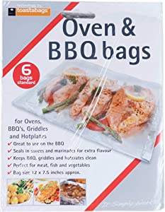 toastabags Disposable Oven and BBQ Cooking Bags, 12 x 7.5 Inch - 6 Bags per Pack, 1-Pack