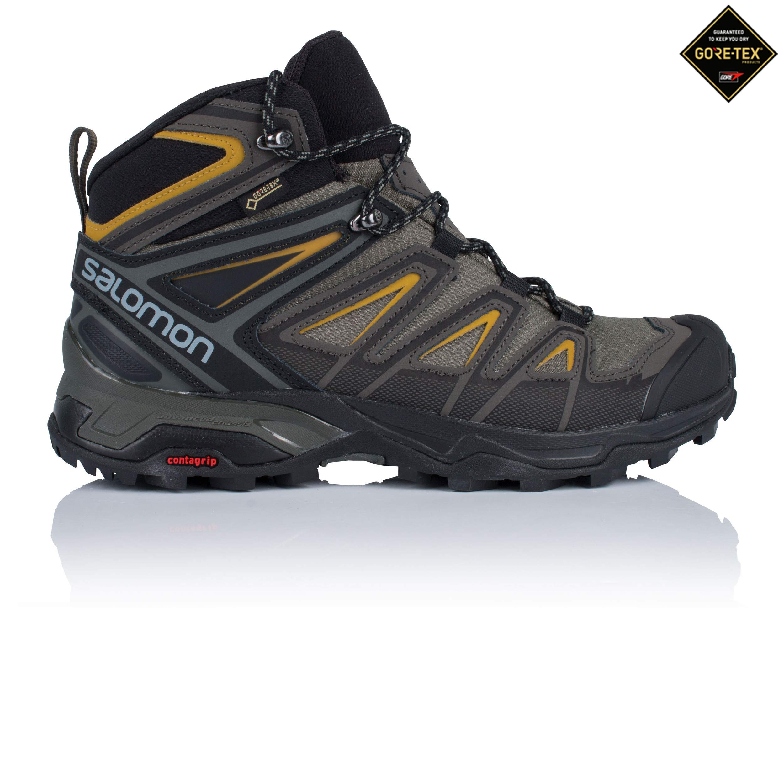 Salomon Men's X Ultra 3 Mid GTX Waterproof Hiking Boots, Castor Gray/Black/Green Sulpher, 14D (Medium)