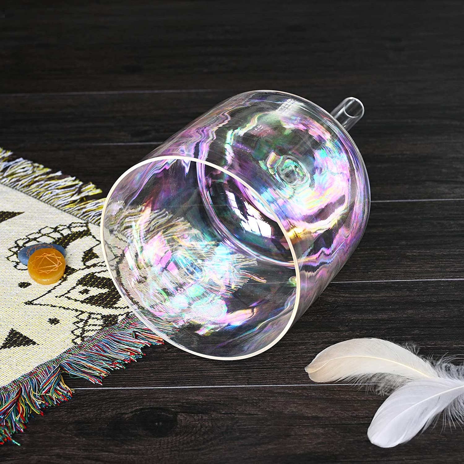 CVNC 5 Inch A Note Cosmic Light Hollow Handle Clear Quartz Crystal Singing Bowl Sound Music Instrument