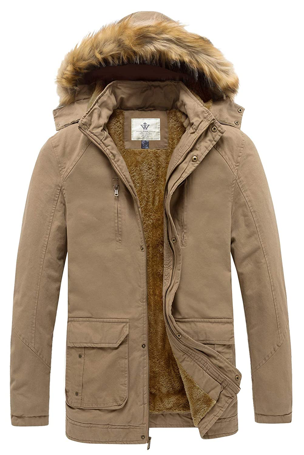 WenVen Mens Winter Warm Hooded Casual Jackets and Coats