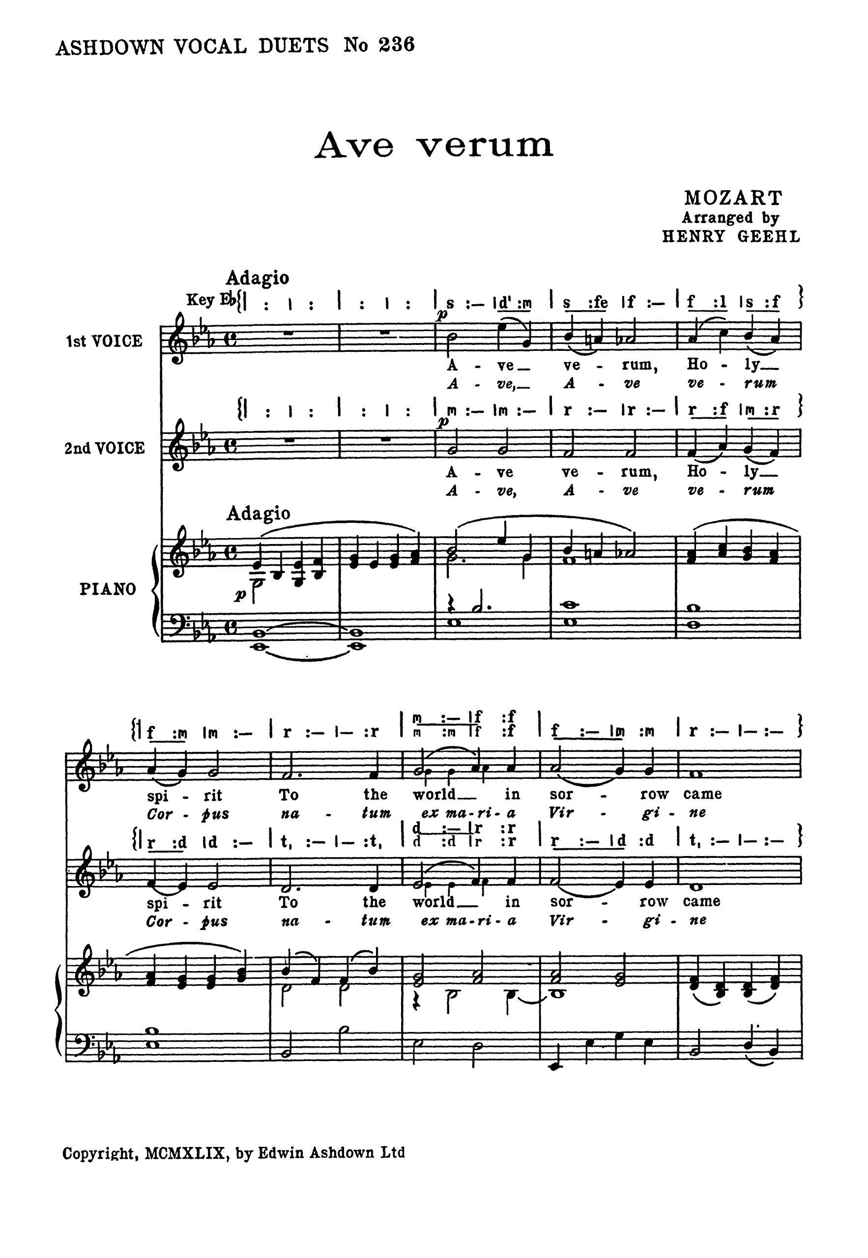 W.A. Mozart: Ave Verum SA . Partituras para Coro en 2 Partes ...