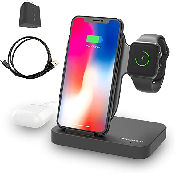 Techsmarter Qi Wireless Charging Station Dock for iPhone + Apple Watch + USB-A Port. Compatible with Apple iPhone 8,X,XR,XS,11, iWatch 5,4,3,2,1 ...