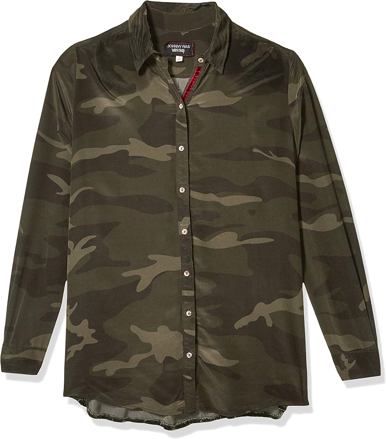3J Workshop by Johnny Was Women's Camo Buttondown Velvet Embroidered Back Shirt Button Forest Camo