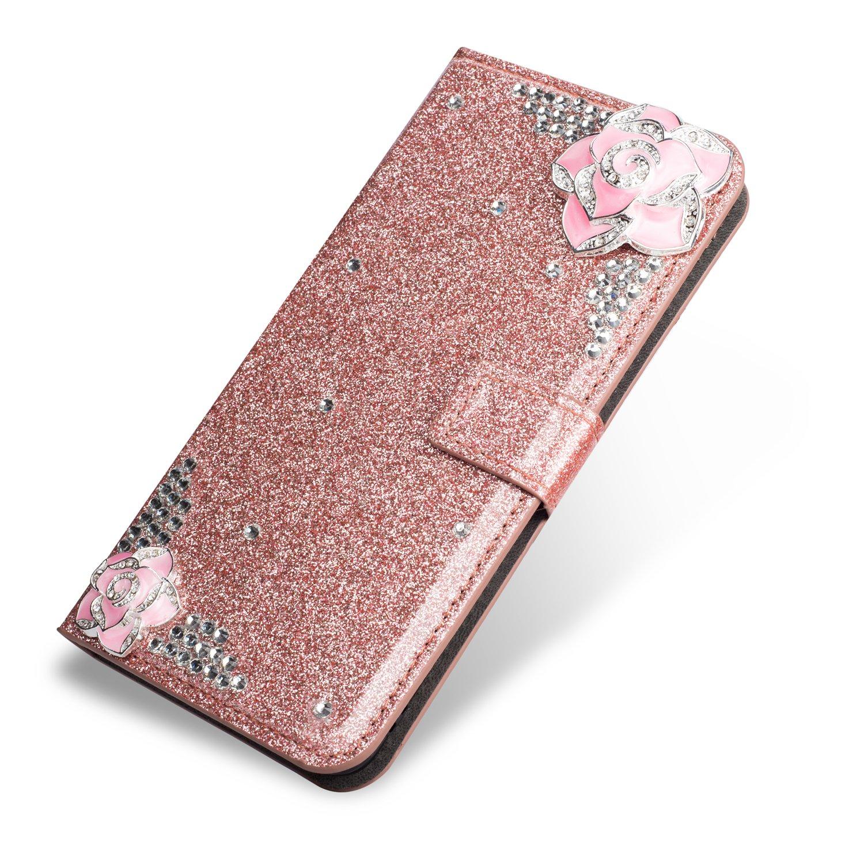 SevenPanda Luxus Bling PU Leder Mappen Kasten fü r Galaxy S6, Diamant Glitter 3D Kamelie Blumen Juwelen Magnetischer Verschluss Flip Folio Stand Kasten fü r Samsung Galaxy S6 - Gold S6-ChaHua-Jin
