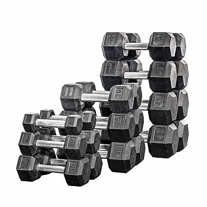 Amazon.com   Rep 5-50 lb Rubber Hex Dumbbell Set a4edd3badbbff
