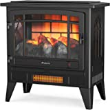 TURBRO Suburbs TS25 Electric Fireplace Infrared Heater - Freestanding Fireplace Stove with Adjustable Flame Effects, Overheat