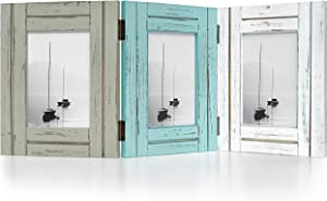 "Barnyard Designs Rustic Wood Picture Frame Set, Three Connected Folding Wooden Frames for 4"" x 6"" Photos, Large Distressed Farmhouse Collage Frames, Sage, Turquoise White, 19.75"" x 8"""