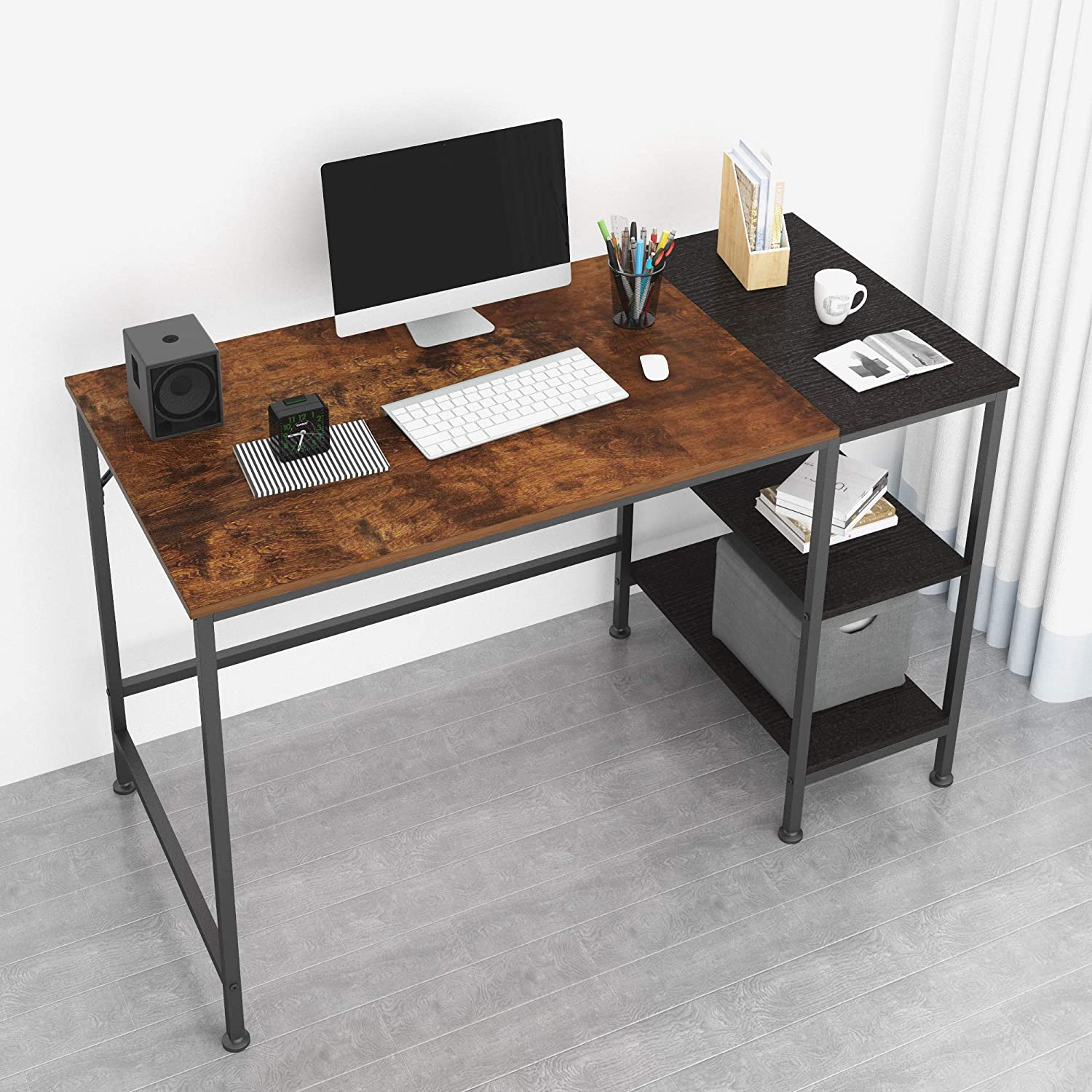 JOISCOPE Computer Desk with Shelves,Laptop Table with Wooden Drawer,47 inches(Vintage Oak Finish)